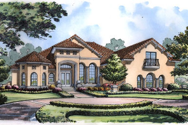 European Style House Plan - 6 Beds 5 Baths 4124 Sq/Ft Plan #417-419 Exterior - Front Elevation