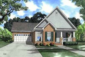Southern Exterior - Front Elevation Plan #17-2214