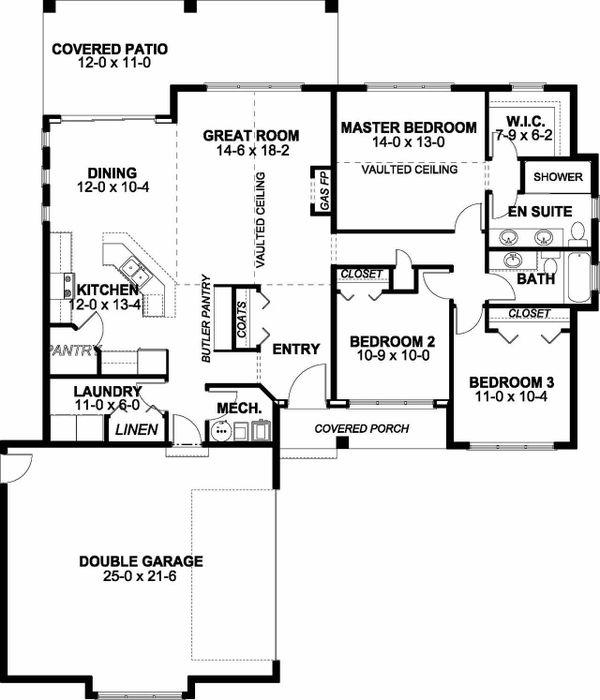 Adobe / Southwestern Floor Plan - Main Floor Plan #126-172