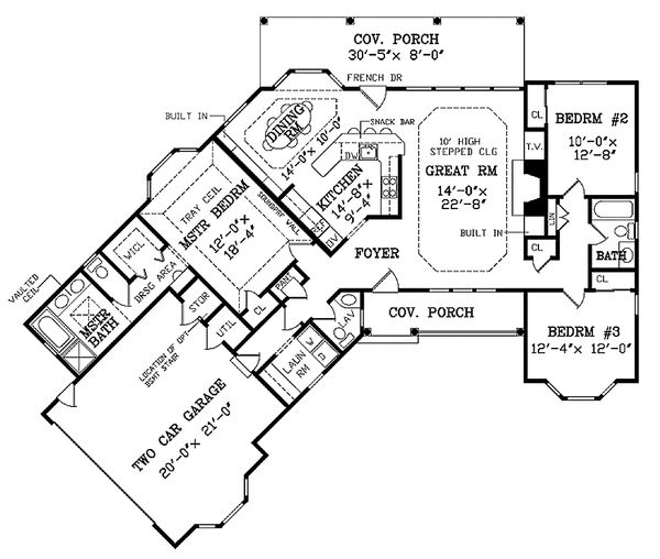 Country Floor Plan - Main Floor Plan Plan #314-203