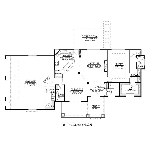 Craftsman Floor Plan - Main Floor Plan Plan #1064-44