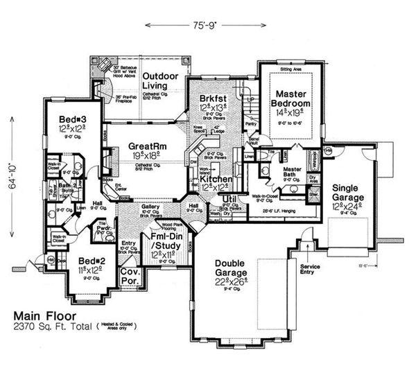 House Plan Design - European Floor Plan - Main Floor Plan #310-1281