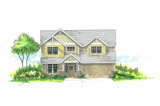 Craftsman Exterior - Front Elevation Plan #53-487