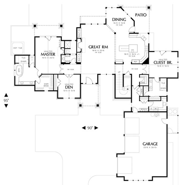 Craftsman Floor Plan - Main Floor Plan Plan #48-463
