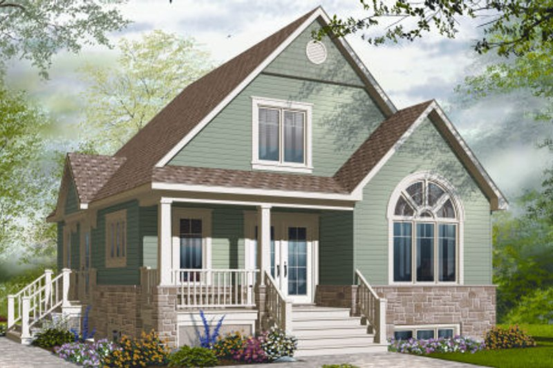 Cottage Style House Plan - 3 Beds 2 Baths 1343 Sq/Ft Plan #23-2283 Exterior - Front Elevation