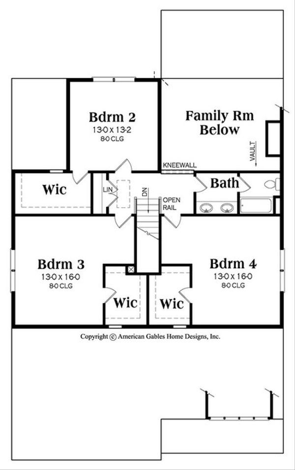 Country Floor Plan - Upper Floor Plan #419-319