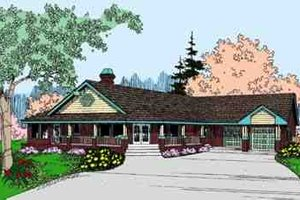 Dream House Plan - Country Exterior - Front Elevation Plan #60-618