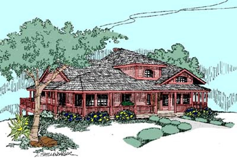 Country Style House Plan - 4 Beds 2.5 Baths 2584 Sq/Ft Plan #60-517 Exterior - Front Elevation