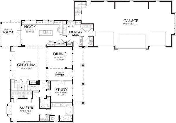 House Plan Design - Craftsman Floor Plan - Main Floor Plan #48-148
