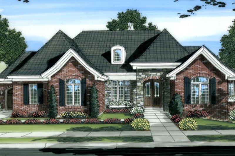 European Exterior - Front Elevation Plan #46-444