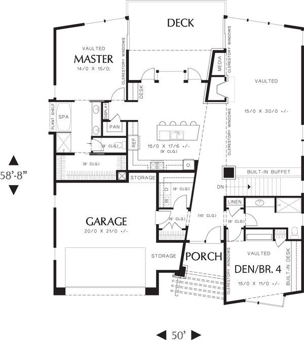 Modern Floor Plan - Main Floor Plan #48-606