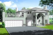 Mediterranean Style House Plan - 4 Beds 3.5 Baths 2627 Sq/Ft Plan #1-636 Exterior - Front Elevation