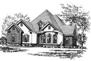 European Style House Plan - 4 Beds 3.5 Baths 3064 Sq/Ft Plan #37-218 Exterior - Front Elevation