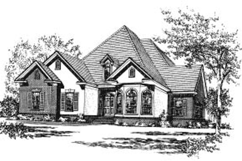 European Exterior - Front Elevation Plan #37-218