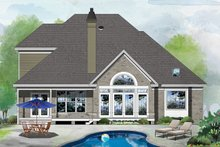 Colonial Exterior - Rear Elevation Plan #929-158