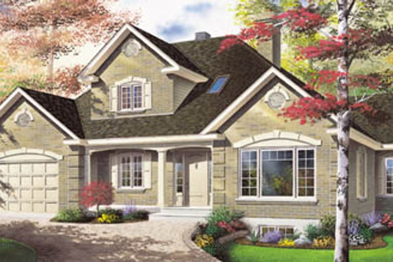 European Style House Plan - 3 Beds 2 Baths 2101 Sq/Ft Plan #23-2096 Exterior - Front Elevation