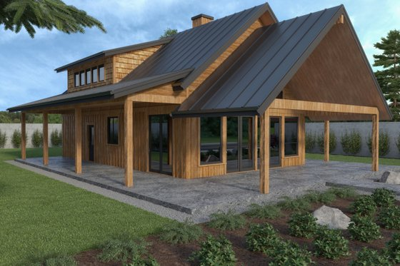 Cabin Exterior - Front Elevation Plan #1070-100