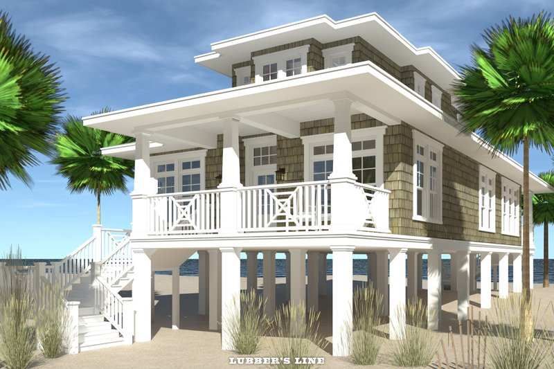 Beach Exterior - Front Elevation Plan #64-259