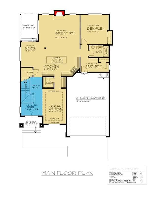 Colonial Floor Plan - Main Floor Plan Plan #1066-76