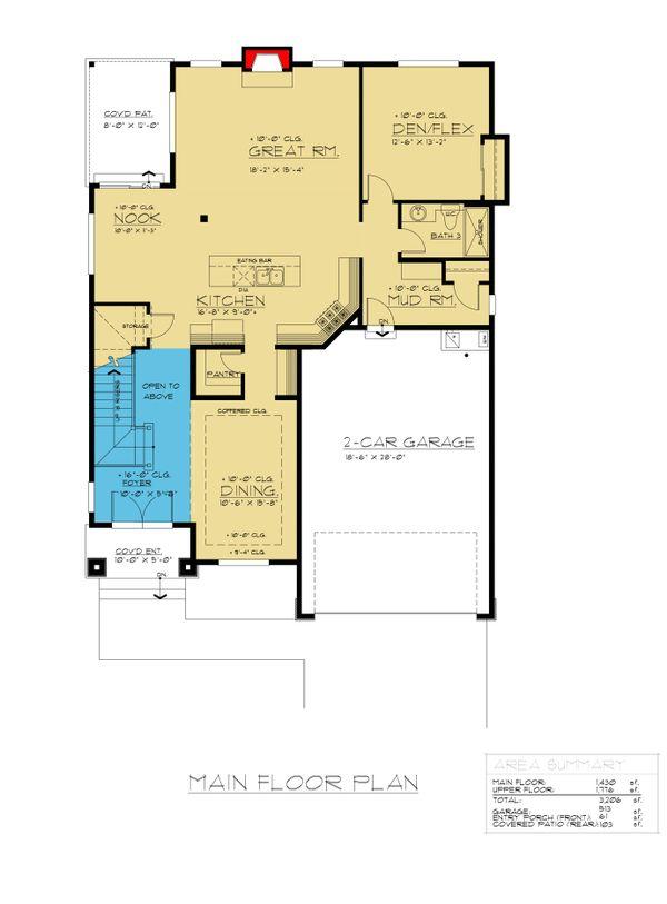 Colonial Floor Plan - Main Floor Plan #1066-76