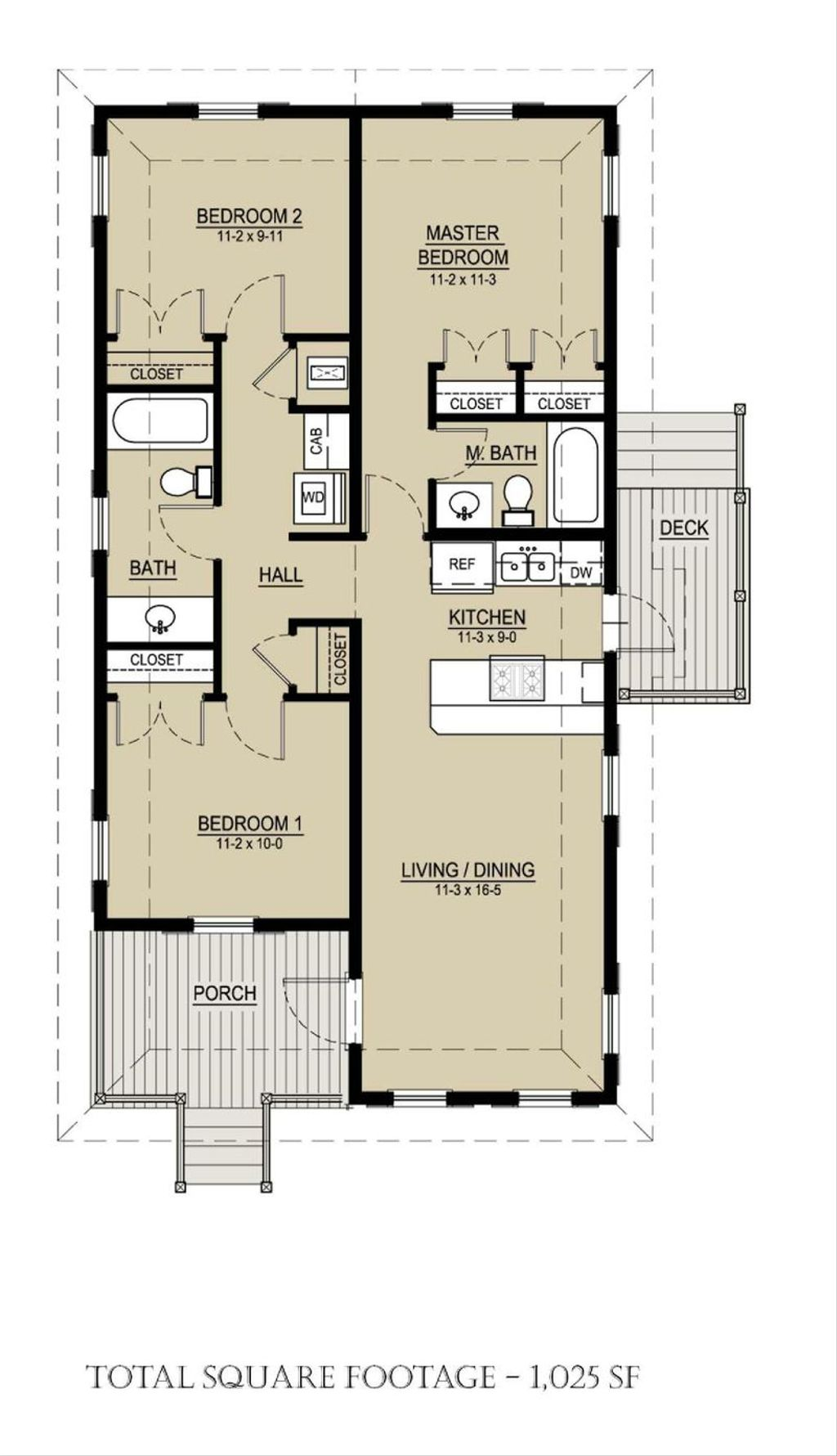 Cottage Style House Plan 3 Beds 2 Baths 1025 Sq Ft Plan 536 3 Houseplans Com,Simple Floor Plan With 2 Bedrooms