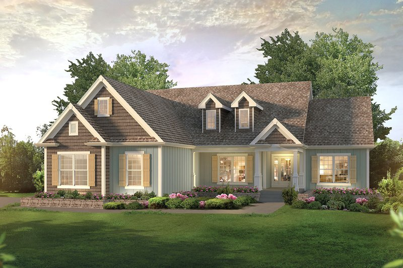 Ranch Style House Plan - 3 Beds 2.5 Baths 1983 Sq/Ft Plan #57-664 Exterior - Front Elevation