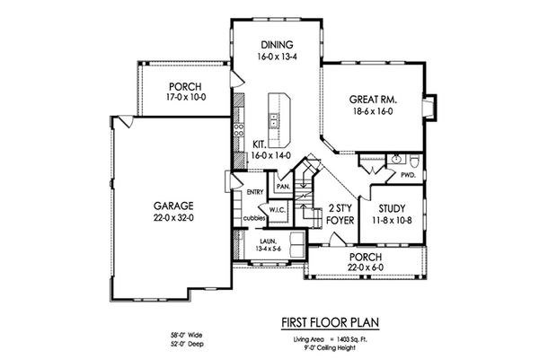 Farmhouse Floor Plan - Main Floor Plan Plan #1010-227