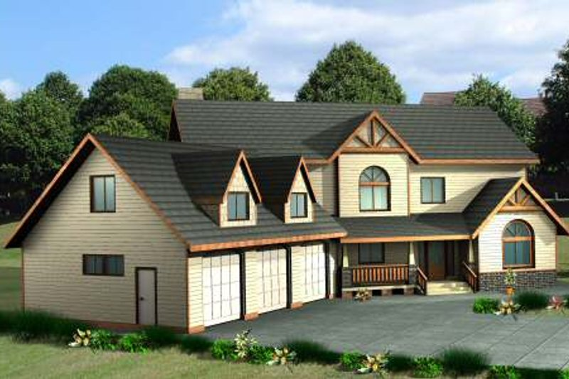 Country Exterior - Front Elevation Plan #117-577 - Houseplans.com