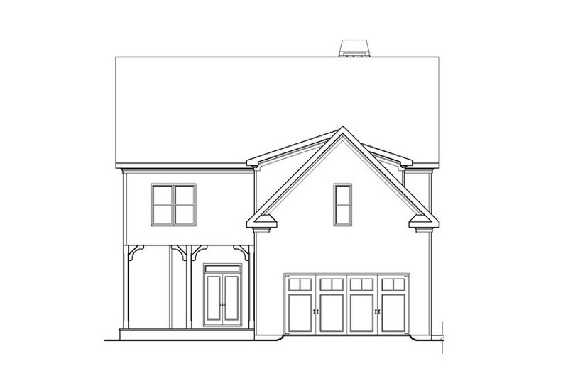 Craftsman Style House Plan - 4 Beds 4 Baths 3628 Sq/Ft Plan #419-241 Exterior - Rear Elevation