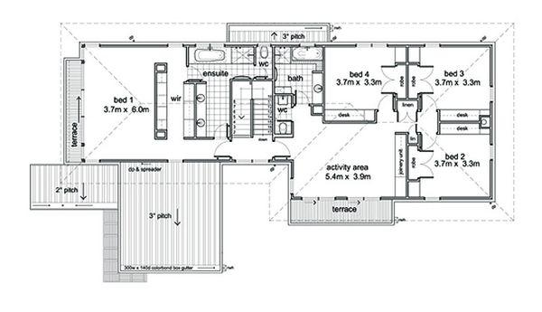 Modern Style House Plan - 5 Beds 2.5 Baths 3882 Sq/Ft Plan #496-1 Floor Plan - Upper Floor Plan