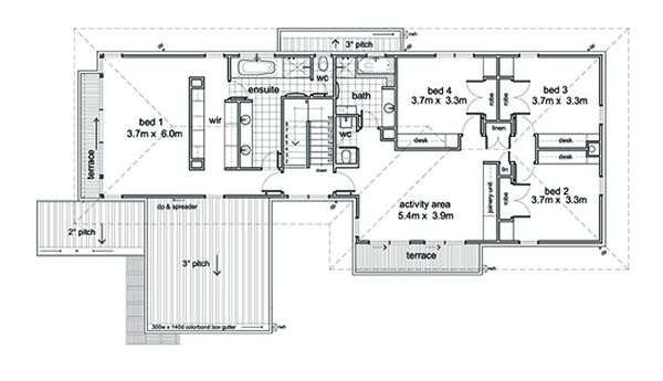 Modern Floor Plan - Upper Floor Plan Plan #496-1