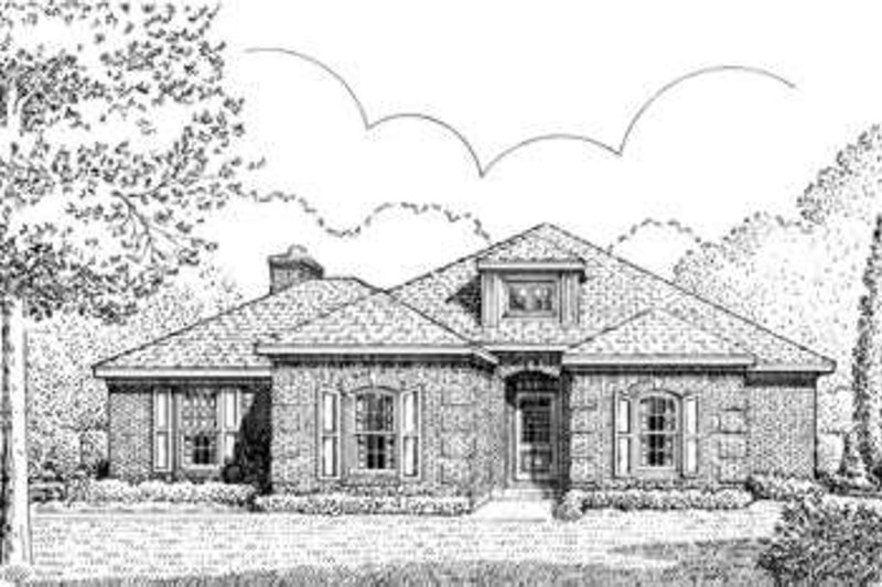 European Style House Plan - 4 Beds 3 Baths 2117 Sq/Ft Plan #410-387 Exterior - Front Elevation