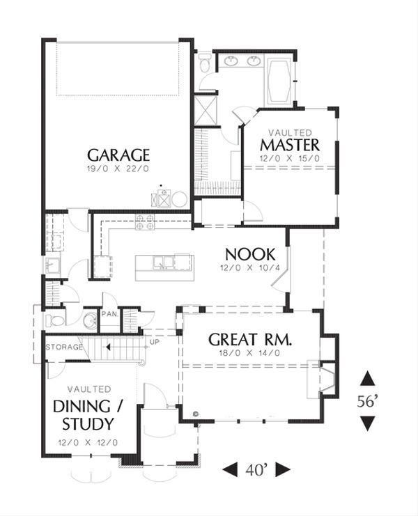 Cottage Floor Plan - Main Floor Plan Plan #48-519