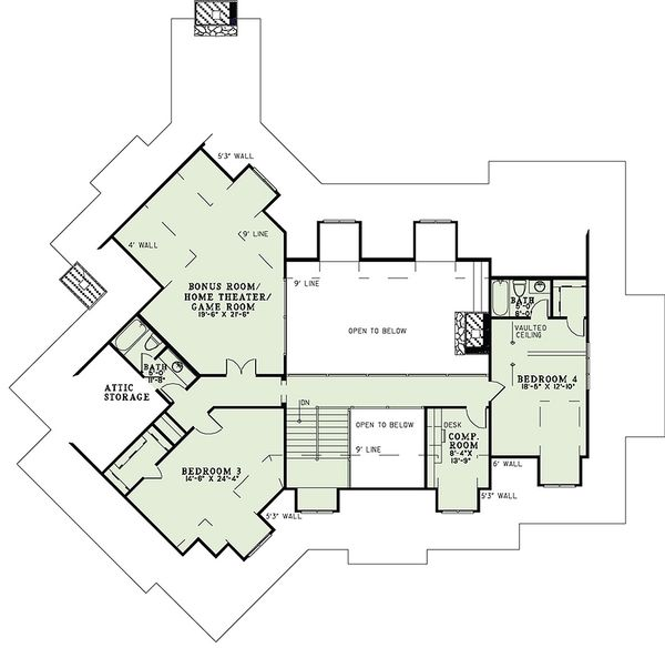 Craftsman Floor Plan - Upper Floor Plan Plan #17-2444