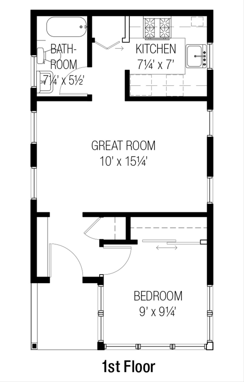 Cottage Style House Plan 1 Beds 1 Baths 461 Sq Ft Plan