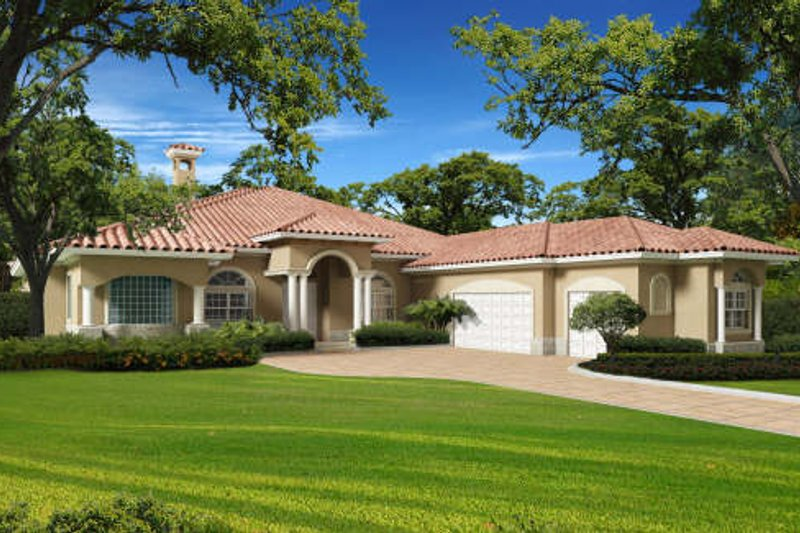 Mediterranean Style House Plan - 5 Beds 3.5 Baths 4193 Sq/Ft Plan #420-284 Exterior - Front Elevation