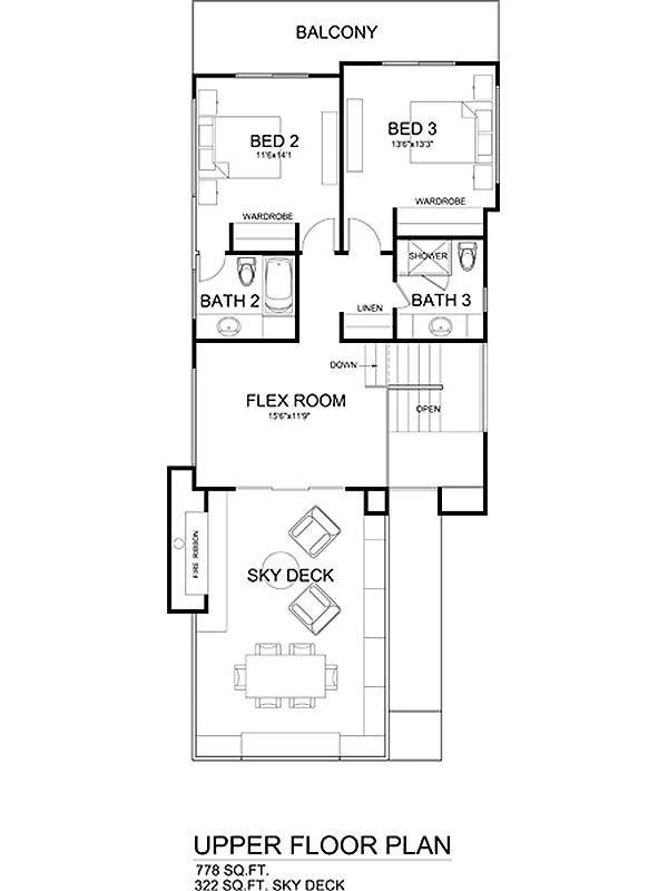 Modern Style House Plan - 3 Beds 3.5 Baths 1990 Sq/Ft Plan #484-1 Floor Plan - Upper Floor Plan