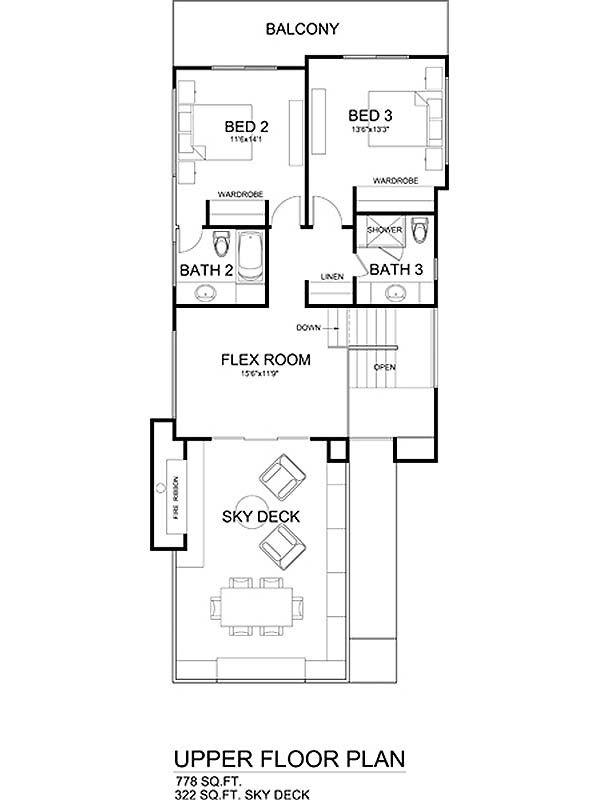 Modern Floor Plan - Upper Floor Plan Plan #484-1