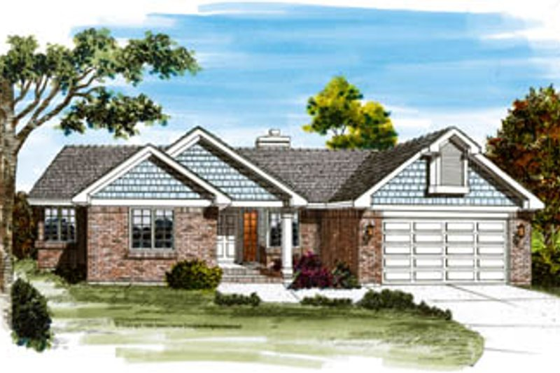 Traditional Style House Plan - 3 Beds 2.5 Baths 1843 Sq/Ft Plan #47-469 Exterior - Front Elevation
