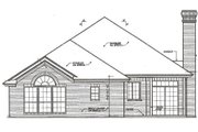European Style House Plan - 3 Beds 2 Baths 1648 Sq/Ft Plan #310-398 Exterior - Rear Elevation
