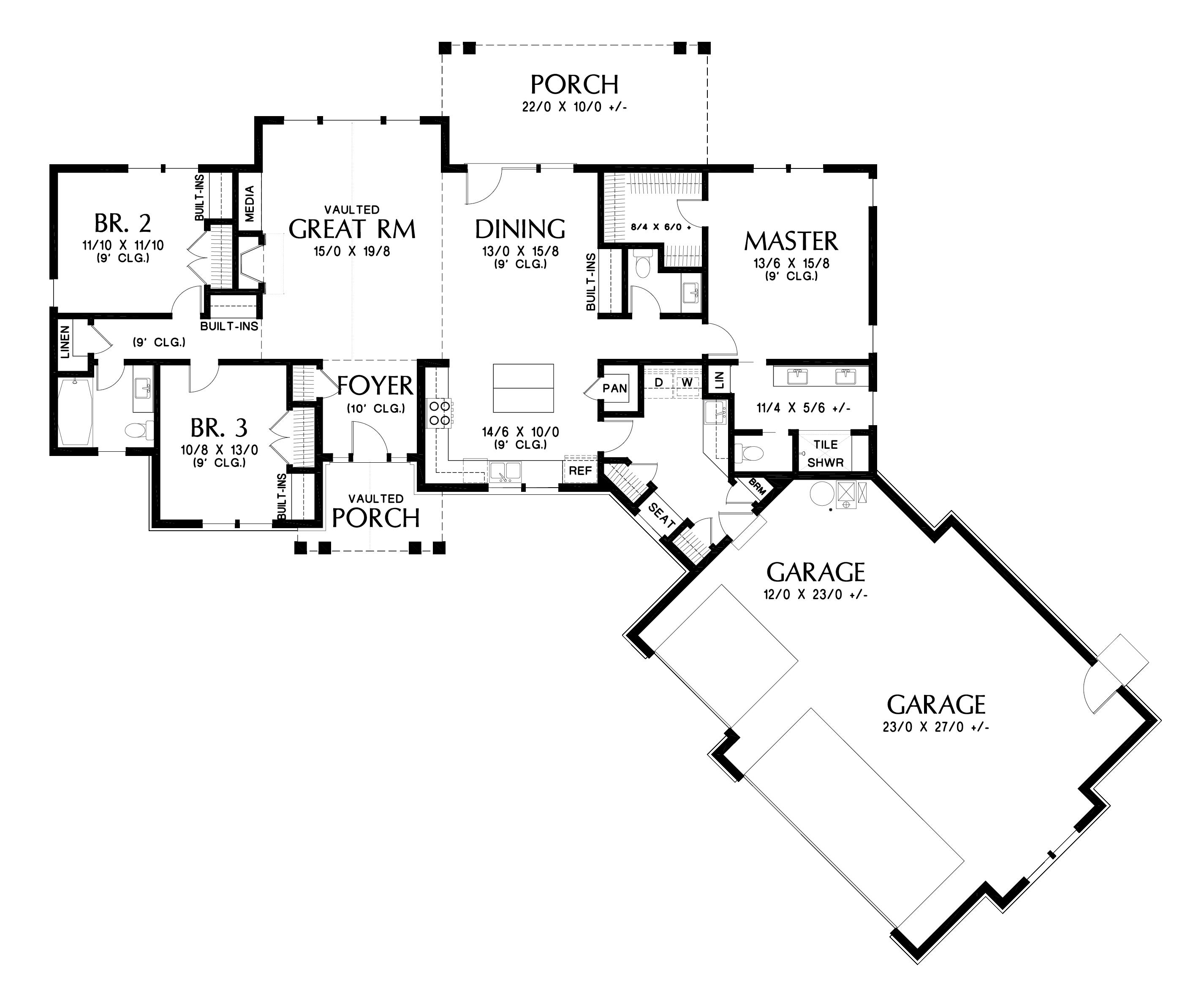 Craftsman Floor Plan - Main Floor Plan Plan #48-1015