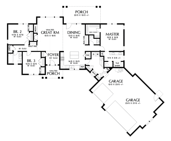 Craftsman Floor Plan - Main Floor Plan #48-1015