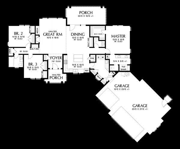 House Plan Design - Craftsman Floor Plan - Main Floor Plan #48-1015