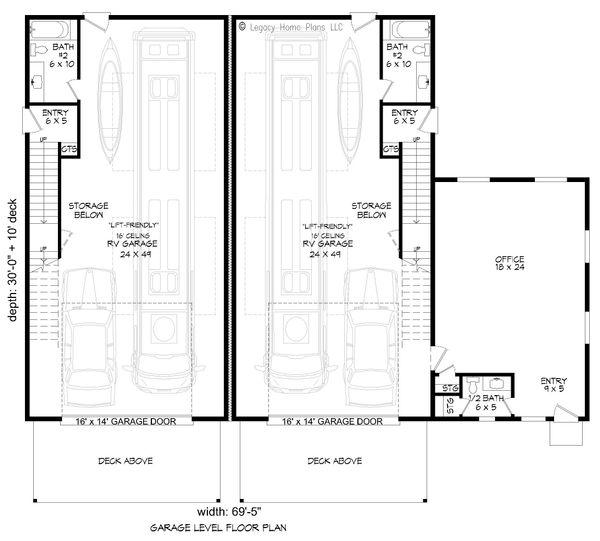 Contemporary Floor Plan - Lower Floor Plan #932-151