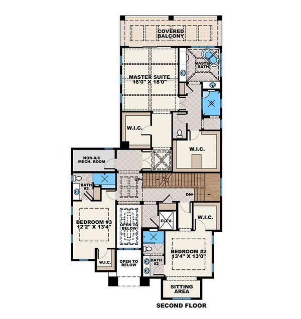 Beach Floor Plan - Upper Floor Plan #27-557