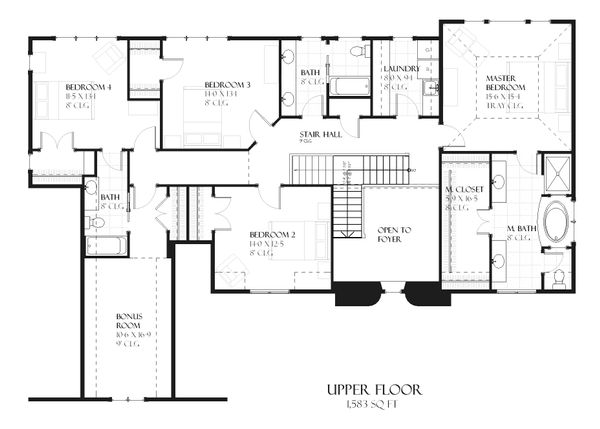 European style house plan, upper level floor plan