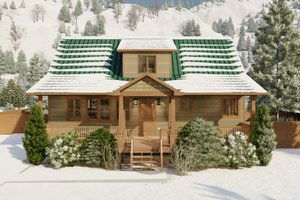 Architectural House Design - Cabin Exterior - Front Elevation Plan #1060-24