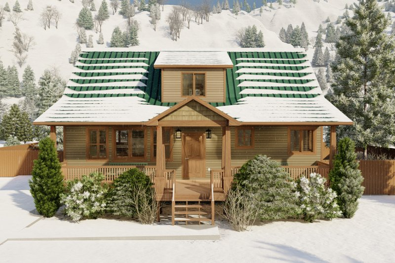 Cabin Exterior - Front Elevation Plan #1060-24