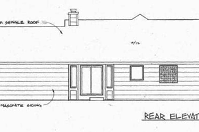 Ranch Exterior - Rear Elevation Plan #58-135 - Houseplans.com