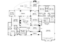 Craftsman style house plan, 3000 square feet, 4 bedroom, 2 1/2 bath floor plan by Donald Gardner